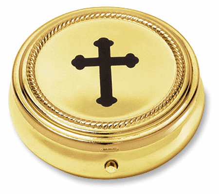 Budded Christian Cross Eucharist Pyx with Gold Finished 3pc Sets by Stratford Chapel