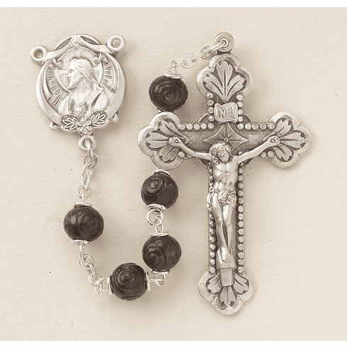 Burgundy Carved Coco Sterling Silver Scapular Rosary by HMH Religious