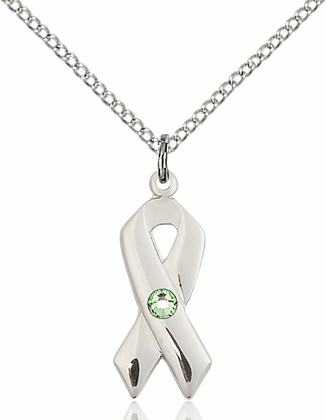 Cancer Awareness August Peridot Birthstone Swarovski Crystal Pendant by Bliss