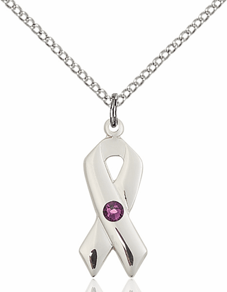 Cancer Awareness February Amethyst Birthstone Swarovski Crystal Pendant by Bliss