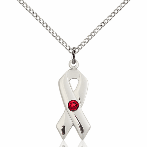 Cancer Awareness July Ruby Birthstone Swarovski Crystal Pendant by Bliss