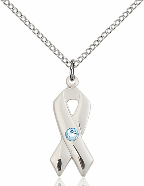 Cancer Awareness March Aqua Birthstone Swarovski Crystal Pendant by Bliss