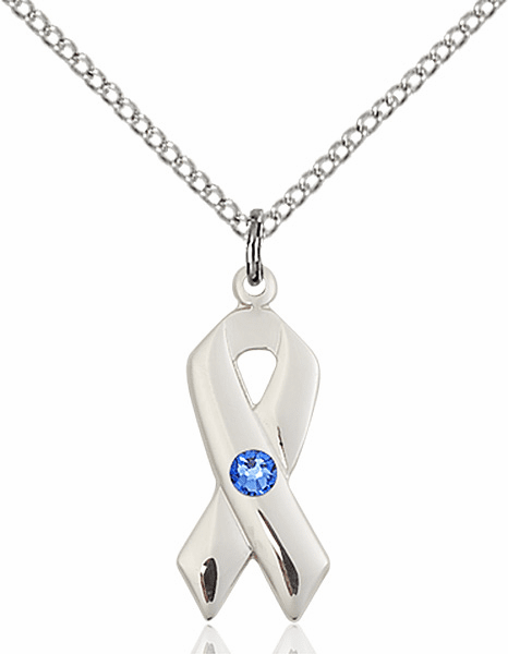 Cancer Awareness September Sapphire Birthstone Swarovski Crystal Pendant by Bliss