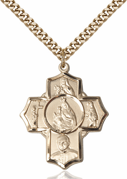 Carmelite Five-Way Cross 14kt Gold-filled Pendant Necklace by Bliss