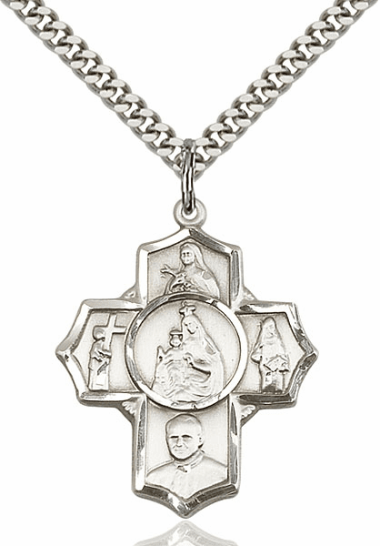 Carmelite Five-Way Cross Sterling Silver Pendant Necklace by Bliss