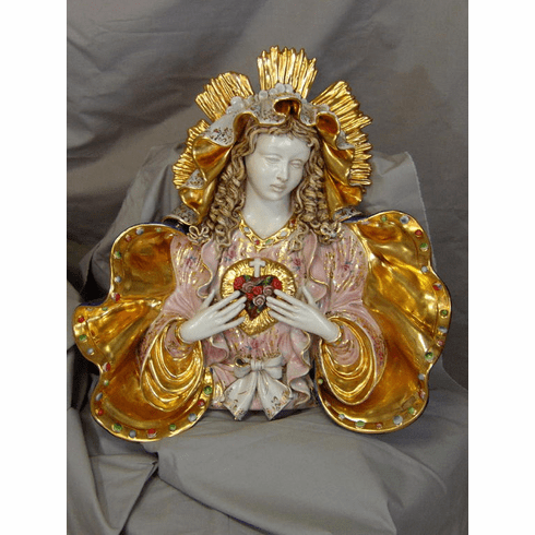 Carmine Apolito Immaculate Heart of Mary Bust Wall Plaque