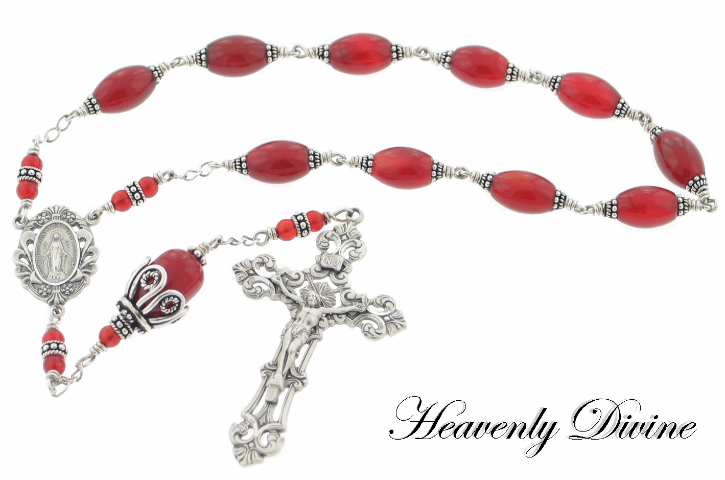 Heavenly Divine Rosaries Wire-Wrapped Carnelian & Sterling Silver Pocket Rosary