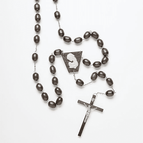 "Catholic 60"" Brown Wood and Metal Wall Rosary"