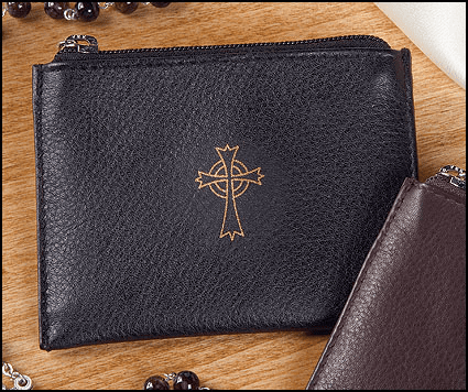 Catholic Black Genuine Leather Holy Rosary Zipper Cases 3pcs