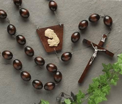 Catholic Brown Wood Wall Rosary