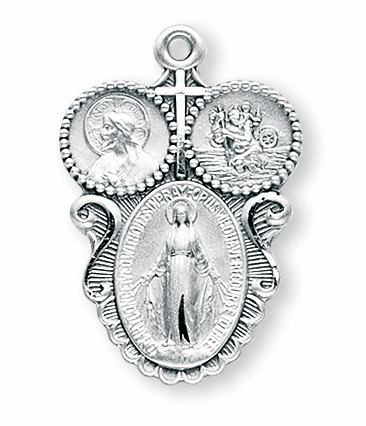 Catholic Cross Sterling Silver 3-Way Medal Necklace by HMH Religious