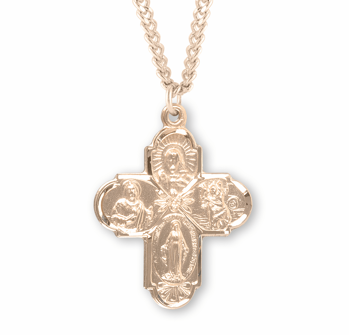 Catholic Gold 4-Way Medal with Holy Spirit Necklace by HMH Religious