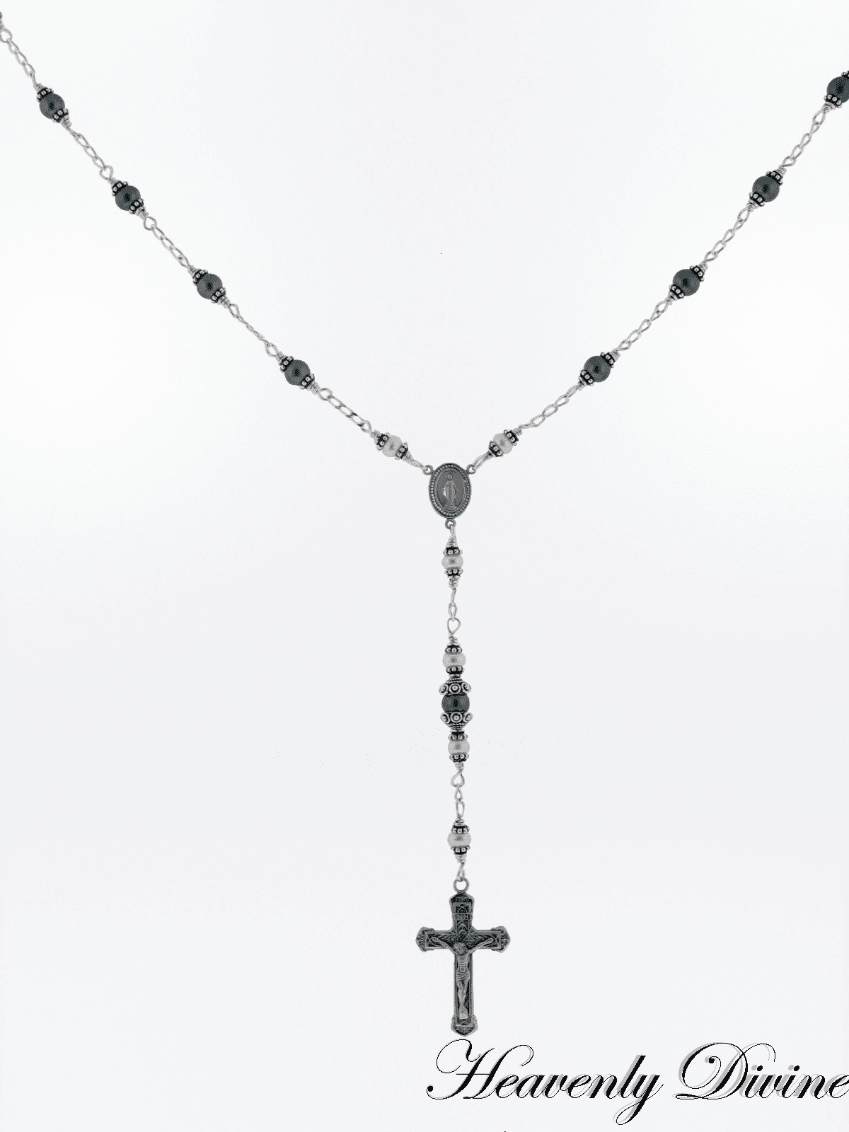 Catholic Handmade Black & White Pearl Rosary Necklace by Heavenly Divine