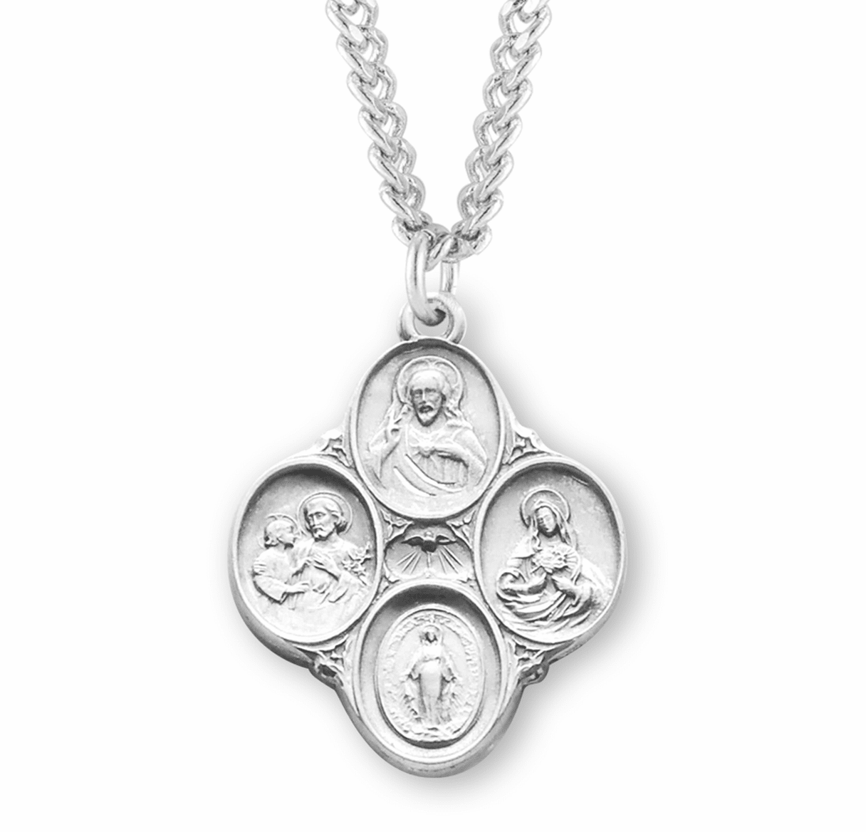 Catholic Sterling Silver Four-Way Medal Necklace by HMH Religious