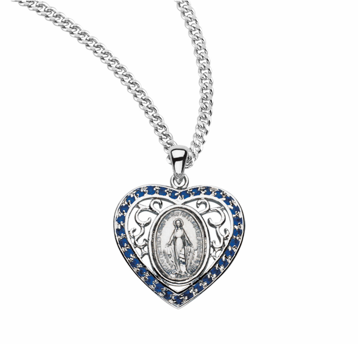 Miraculous Medal with Stones Jewelry