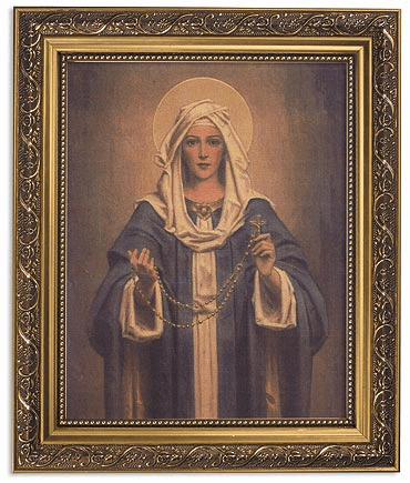 Chambers Our Lady of the Rosary Framed Print Picture with Gold Frame by Gerffert