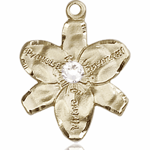 Chastity Flower April Crystal Birthstone Crystal 14kt Gold-filled 14kt Yellow Gold Pendant by Bliss