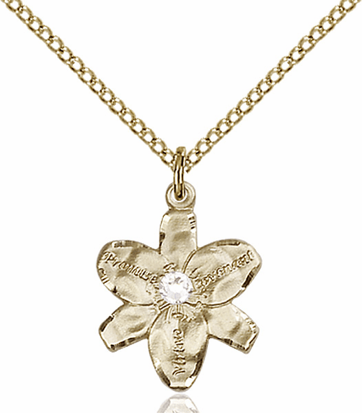 Chastity Flower April Crystal Birthstone Crystal 14kt Gold-filled Pendant by Bliss