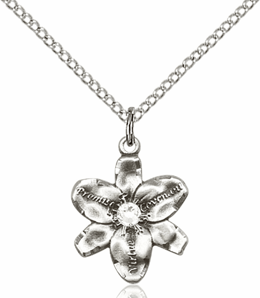 Chastity Flower April Crystal Birthstone Crystal Sterling Silver Pendant by Bliss