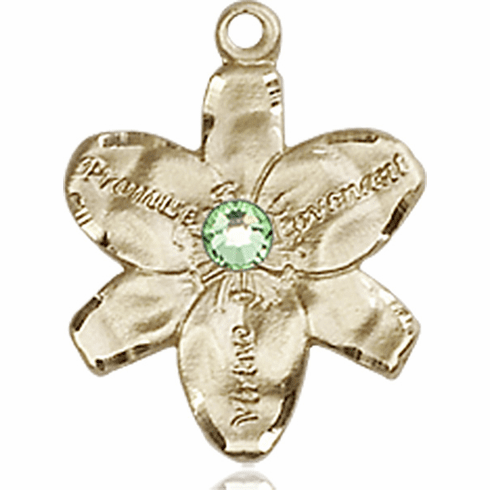 Chastity Flower August Peridot Birthstone Crystal 14kt Gold-filled 14kt Yellow Gold Pendant by Bliss