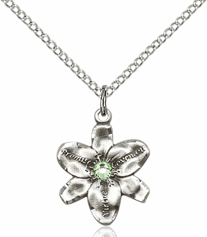 Chastity Flower August Peridot Birthstone Crystal Sterling Silver Pendant by Bliss