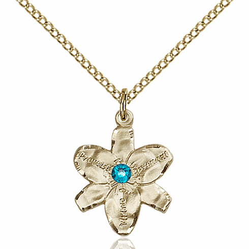 Chastity Flower December Zircon Birthstone Crystal 14kt Gold-filled Pendant by Bliss