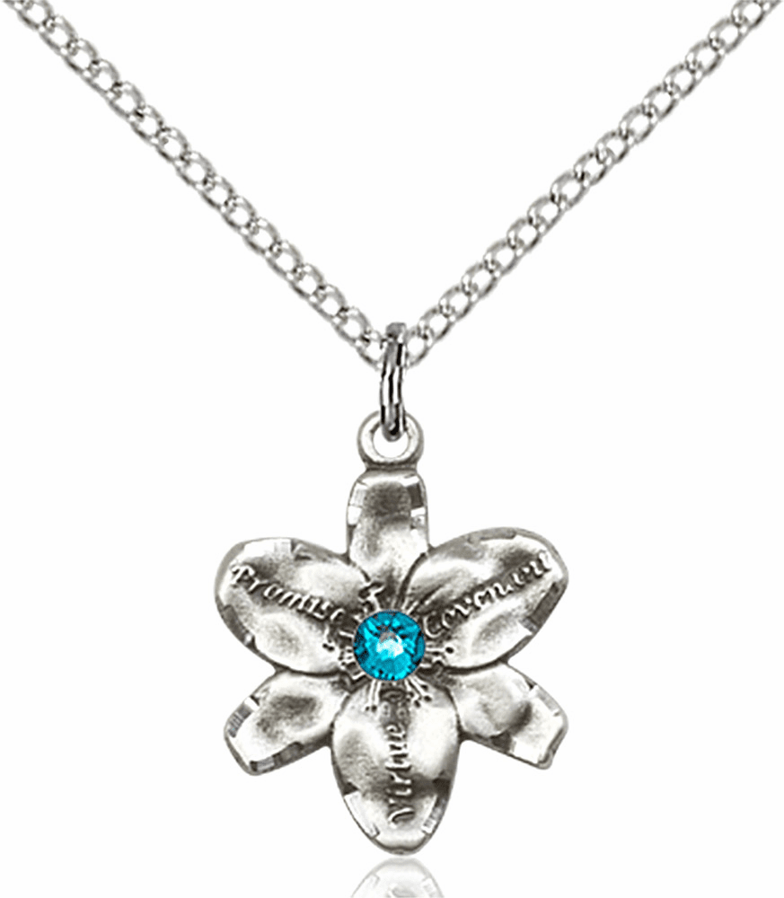 Chastity Flower December Zircon Birthstone Crystal Sterling Silver Pendant by Bliss