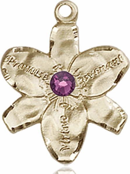 Chastity Flower February Amethyst Birthstone Crystal 14kt Gold-filled 14kt Yellow Gold Pendant by Bliss