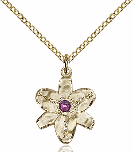 Chastity Flower February Amethyst Birthstone Crystal 14kt Gold-filled Pendant by Bliss