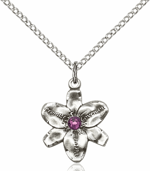 Chastity Flower February Amethyst Birthstone Crystal Sterling Silver Pendant by Bliss