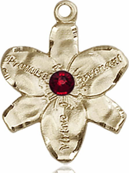 Chastity Flower January Garnet Birthstone Crystal 14kt Gold-filled 14kt Yellow Gold Pendant by Bliss