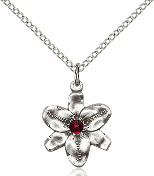 Chastity Flower January Garnet Birthstone Crystal Sterling Silver Pendant by Bliss