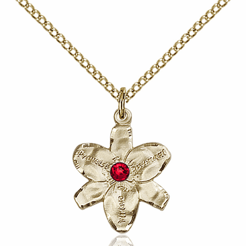 Chastity Flower July Ruby Birthstone Crystal 14kt Gold-filled Pendant by Bliss
