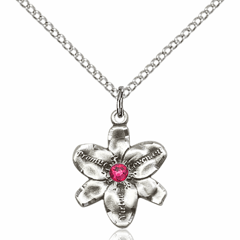 Chastity Flower July Ruby Birthstone Crystal Sterling Silver Pendant by Bliss