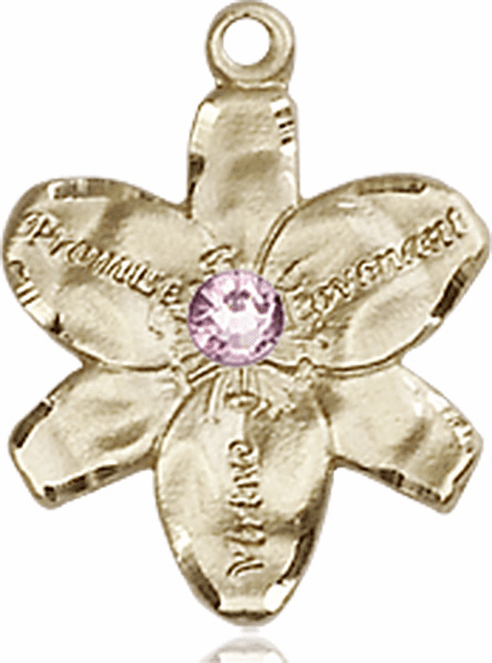 Chastity Flower June Light Amethyst Birthstone Crystal 14kt Gold-filled 14kt Yellow Gold Pendant by Bliss
