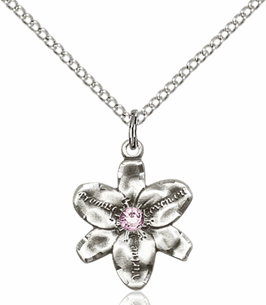 Chastity Flower June Light Amethyst Birthstone Crystal Sterling Silver Pendant by Bliss