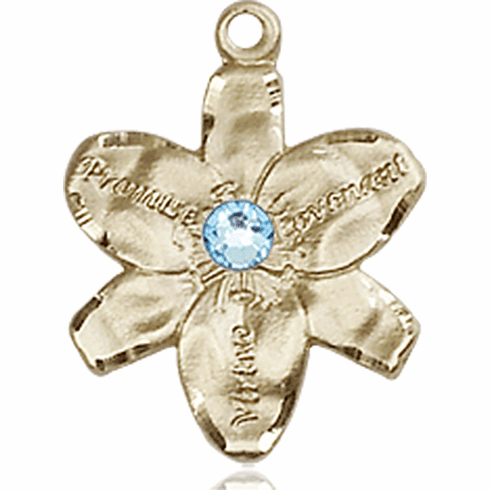 Chastity Flower March Aqua Birthstone Crystal 14kt Gold-filled 14kt Yellow Gold Pendant by Bliss