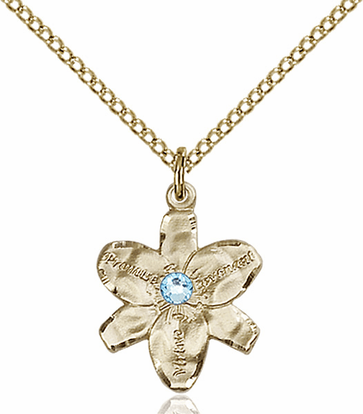 Chastity Flower March Aqua Birthstone Crystal 14kt Gold-filled Pendant by Bliss