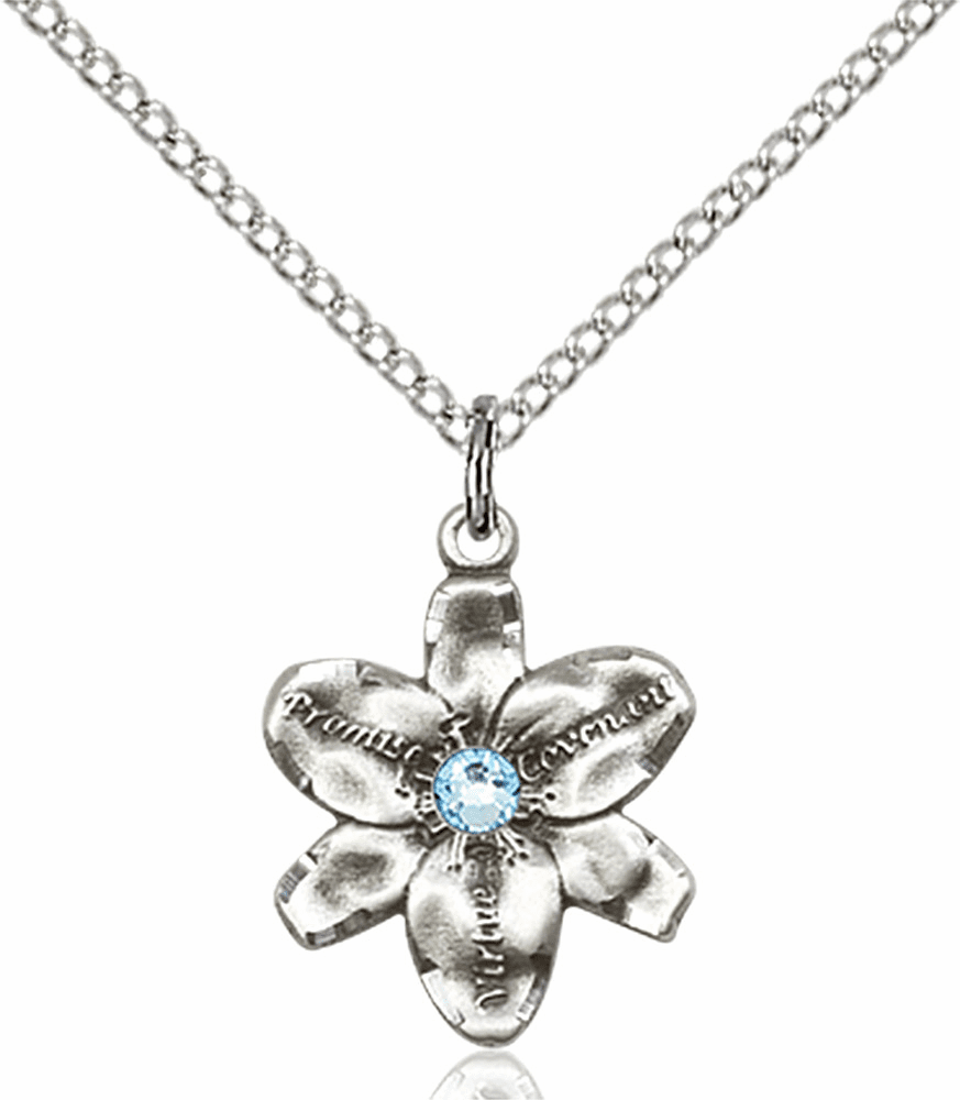 Chastity Flower March Aqua Birthstone Crystal Sterling Silver Pendant by Bliss