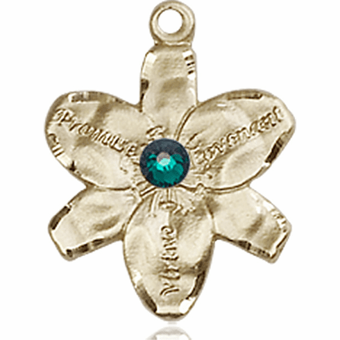 Chastity Flower May Emerald Birthstone Crystal 14kt Gold-filled 14kt Yellow Gold Pendant by Bliss