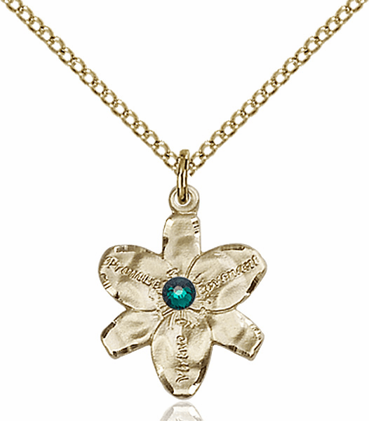 Chastity Flower May Emerald Birthstone Crystal 14kt Gold-filled Pendant by Bliss