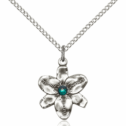 Chastity Flower May Emerald Birthstone Crystal Sterling Silver Pendant by Bliss