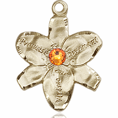 Chastity Flower November Topaz Birthstone Crystal 14kt Gold-filled 14kt Yellow Gold Pendant by Bliss