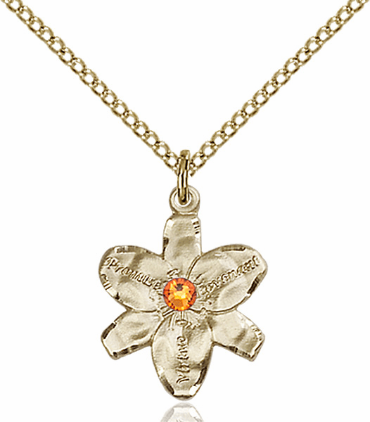 Chastity Flower November Topaz Birthstone Crystal 14kt Gold-filled Pendant by Bliss