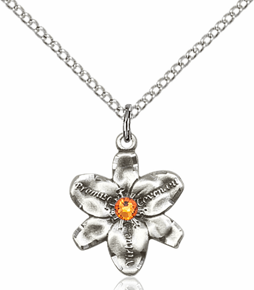 Chastity Flower November Topaz Birthstone Crystal Sterling Silver Pendant by Bliss