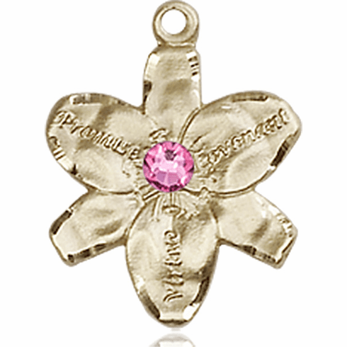 Chastity Flower October Rose Birthstone Crystal 14kt Gold-filled 14kt Yellow Gold Pendant by Bliss