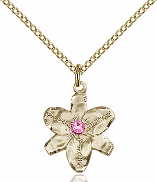 Chastity Flower October Rose Birthstone Crystal 14kt Gold-filled Pendant by Bliss