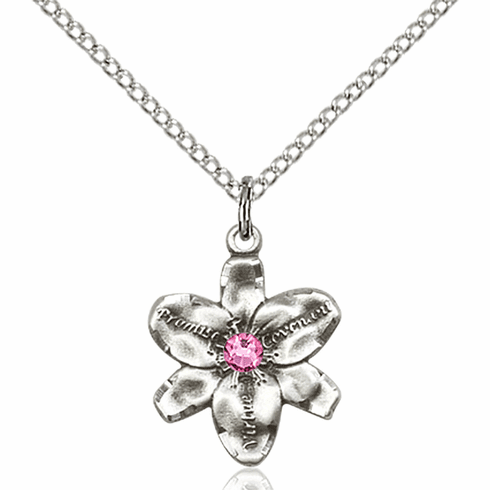 Chastity Flower October Rose Birthstone Crystal Sterling Silver Pendant by Bliss