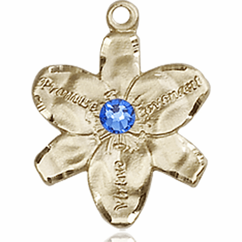 Chastity Flower September Sapphire Birthstone Crystal 14kt Gold-filled 14kt Yellow Gold Pendant by Bliss