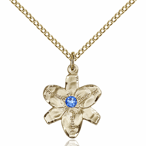 Chastity Flower September Sapphire Birthstone Crystal 14kt Gold-filled Pendant by Bliss